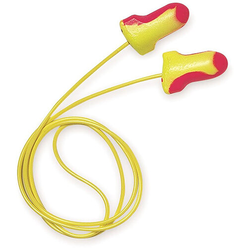 Howard Leight Laser Lite Disposable Corded Earplugs Magenta &Yellow Polybag Pack 100 Pairs Ref LL-30