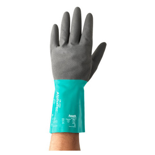 Ansell AlphaTec Size 8 Nitrile Coated Medium-Duty Work Gloves Grey/Green