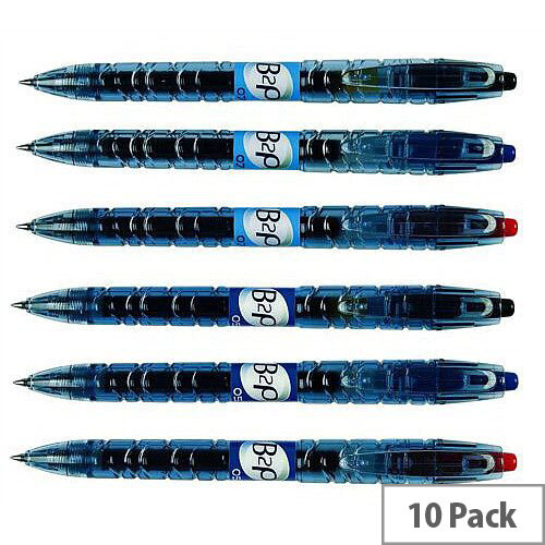 Pilot Begreen B2P Rollerball Pen Recycled Retractable 0.7mm Tip 0.39mm Line Black Ref 054101001 [Pack 10]