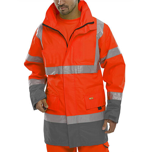 B-Seen Hi-Vis Two Tone Breathable Traffic Jacket Size 5XL Red &Grey Ref BD109REGY5XL