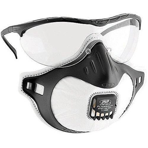 JSP Filterspec FMP2V Valved Goggles Black/Clear - Pack of 10