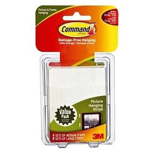 Command Medium and Large Picture Hanging Strips Value Pack 4 Sets of Medium Strips, 8 Sets of Large Strips