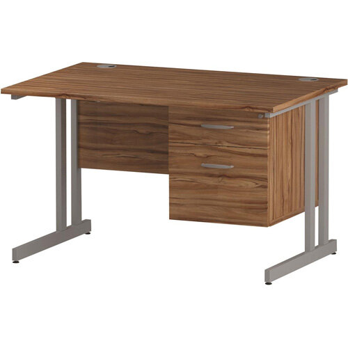 Rectangular Double Cantilever Silver Leg Office Desk With Fixed 2 Drawer Pedestal Walnut W1200xD800mm