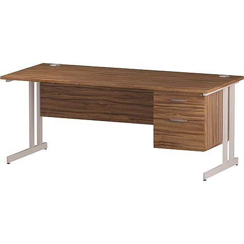 Rectangular Double Cantilever White Leg Office Desk With Fixed 2 Drawer Pedestal Walnut W1800xD800mm
