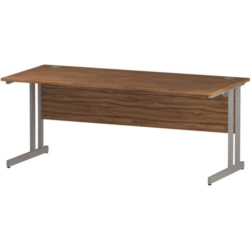 Rectangular Double Cantilever Silver Leg Slimline Office Desk Walnut W1800xD600mm