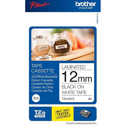 Brother P-Touch TZe-231S  12mm x 4m  Black On White Labelling Tape  Twin Pack