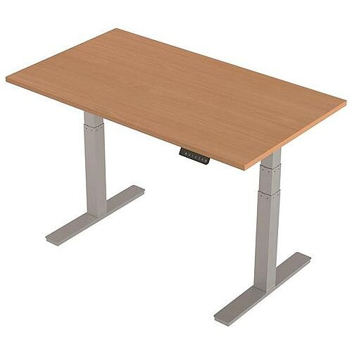 1400x800mm Height Adjustable Rectangular Sit-Stand Desk Beech with Silver Frame