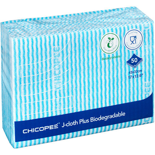 Chicopee J-Cloth Plus Biodegradable 430x320mm Blue Ref 0707117 Pack of 50