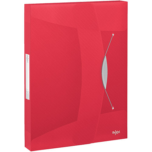 Rexel Choices Box File PP Elastic Strap 40mm Spine A4 Trans Red Pack of 5 Ref 2115668