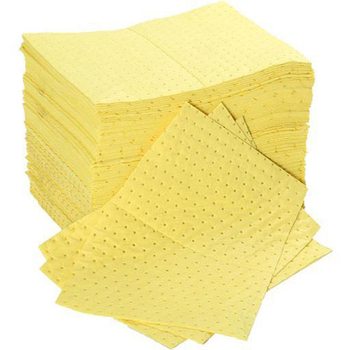 Fentex 40 x 50cm Chemical Absorbent Pads 100 Litres Bonded Perforated Poly Wrapped Yellow Pack 100 Ref CB100