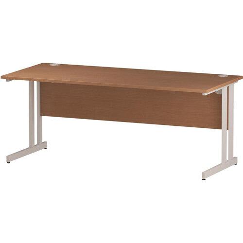 Rectangular Double Cantilever White Leg Slimline Office Desk Beech W1800xD600mm