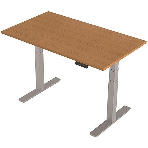 1400x800mm Height Adjustable Rectangular Sit-Stand Desk Oak with Silver Frame