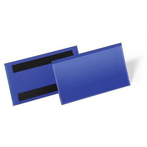 Durable 150x67mm Magnetic Document Pouch Dark Blue Pack of 50