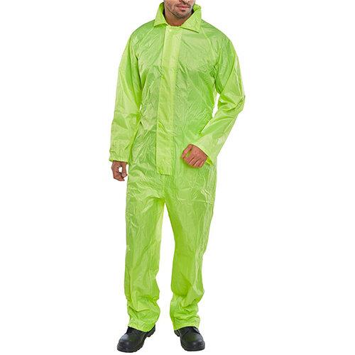 B-Dri Weatherproof Nylon Hi-Vis Protective Work Coverall Size L Saturn Yellow Ref NBDCSYL