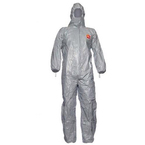 DuPont Tychem F Model CHA5 Large Protective Coverall Grey