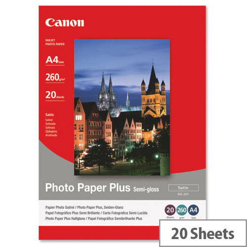 Canon SG-201 A4 260g/m2 Satin Finish Semi-Gloss Plus Photo Paper White 1 Pack of 20 Sheets