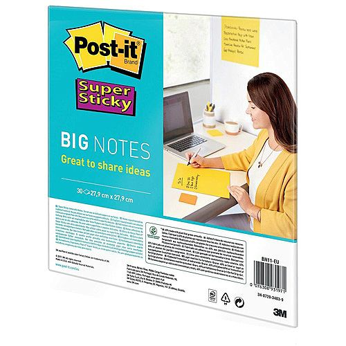 3M Post-it 280 x 280mm Super Sticky Big Notes Self-adhesive Yellow 1 x Pack of 30 Sheets