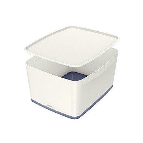 Leitz Mybox Large 18 litre Storage Box with Lid White &Grey