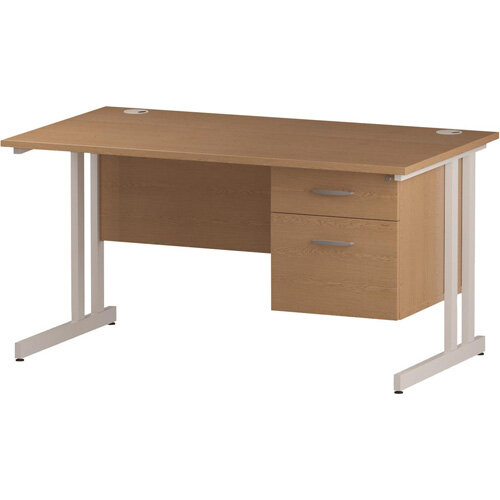 Rectangular Double Cantilever White Leg Office Desk With Fixed 2 Drawer Pedestal Oak W1200xD800mm