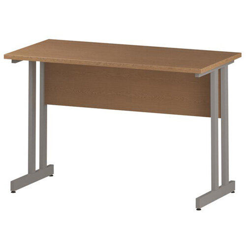 Rectangular Double Cantilever Silver Leg Slimline Office Desk Oak W1200xD600mm
