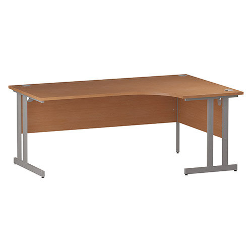 L-Shaped Corner Right Hand Double Cantilever Silver Leg Office Desk Beech W1800mm