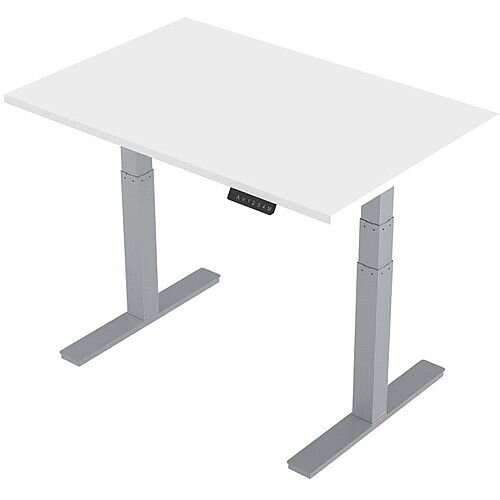 1400x800mm Height Adjustable Rectangular Sit-Stand Desk White with Silver Frame