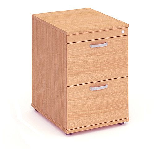 2 Drawer Filing Cabinet WxDxH 500x600x800mm Beech