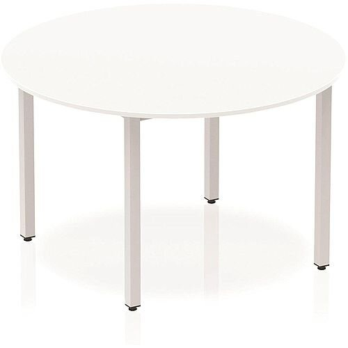 Circular Table White with Silver Frame 1200x1200mm