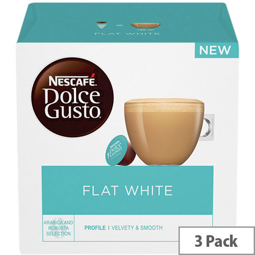 Nescafe Flat White Capsules for Dolce Gusto Machine Ref 12367386 Pack 48 (3x16 Capsules=48 Drinks)