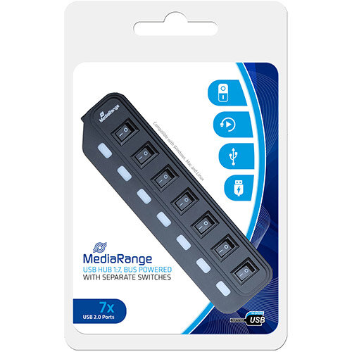 MediaRange USB 2.0 Hub With Separate Switches 7 Ports Black Ref MRCS504
