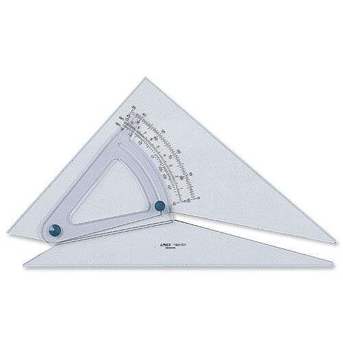 Linex Set Square Adjustable 0.5 Degree Scale 25cm Clear