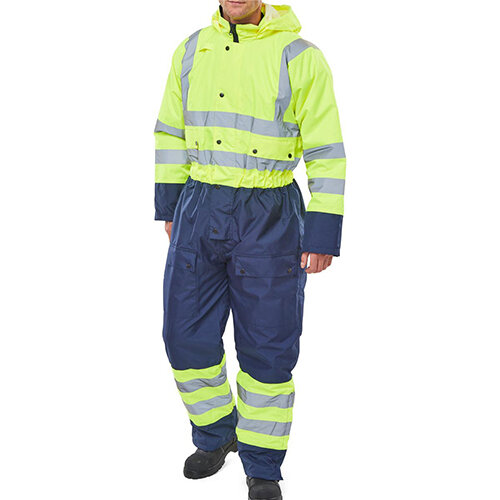 B-Seen Hi-Vis Thermal Waterproof Two Tone Protective Coverall Size L Saturn Yellow &Navy Blue Ref BD900SYNL