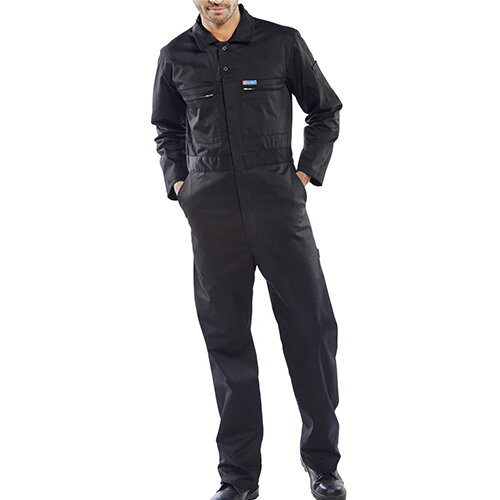 Super Click Workwear Heavy Weight Boiler Suit Work Overall Size 48 Black Ref PCBSHWBL48
