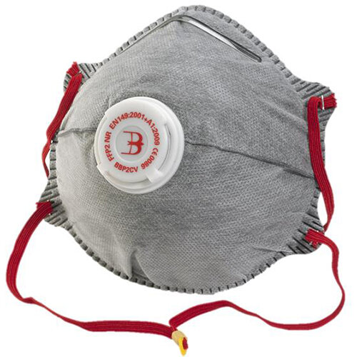 B-Brand P2 Valve Mask Polypropylene Latex-free Grey Pack of 10 Ref BBP2CV