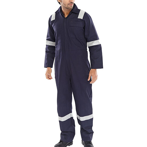 Click Fire Retardant Nordic Design Cotton Boilersuit Work Overall Size 48 Navy Blue Ref CFRBSNDN48