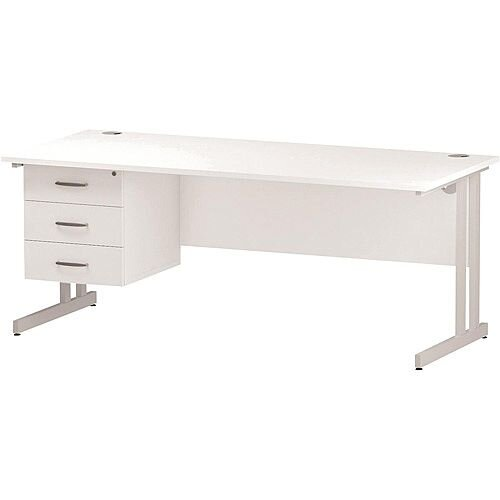 Rectangular Double Cantilever White Leg Office Desk With Fixed 3 Drawer Pedestal White W1800xD800mm