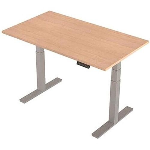 1400x800mm Height Adjustable Rectangular Sit-Stand Desk Maple with Silver Frame