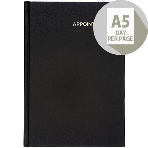 5 Star Office 2020 Appointment Diary Day to Page Casebound and Sewn Vinyl Coated Board A5 210x148mm Black