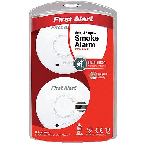 First Alert General Use Smoke Alarm with Silence Feature White Pack of 2