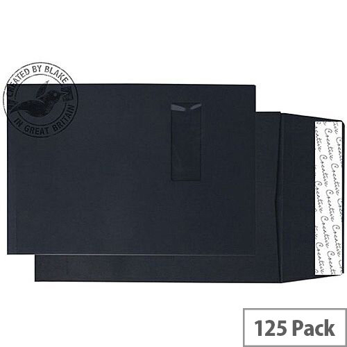 Purely Packaging Envelope Gusset P& 140gsm C4 Window Black Ref 9141W [Pack 125]