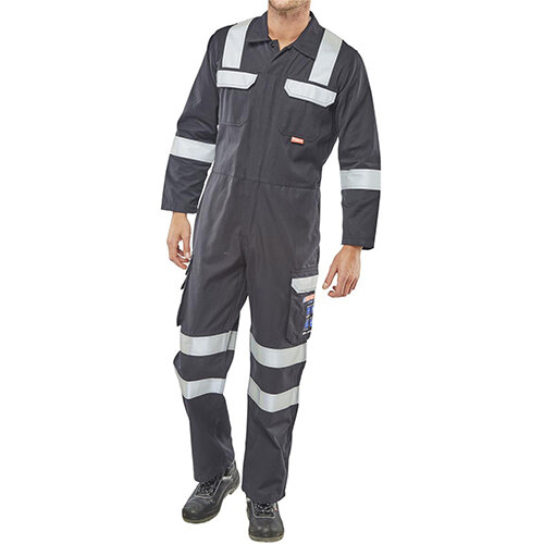 Click Arc Flash Protective Work Coverall Size 44 Navy Blue Ref CARC6N44
