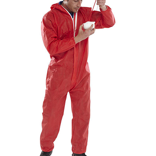 Click Once Disposable Boilersuit Work Overall Type 5/6 Size S Red Pack of 20 Ref COC10RES