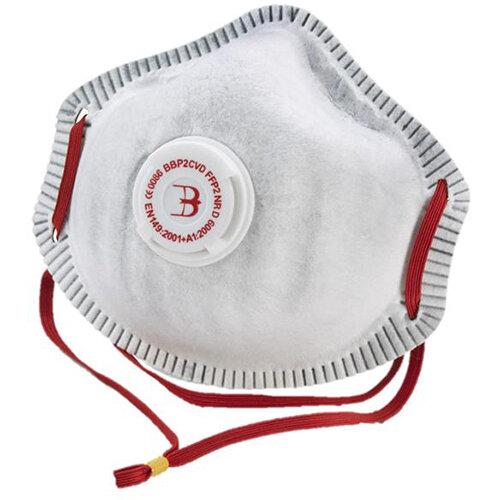 B-Brand P2 Premium Vented Mask Soft Foam Nose Seal White Pack of 10 Ref BBP2CVD