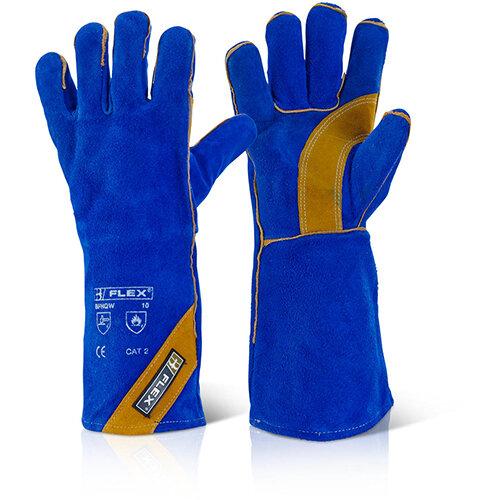 B-Flex Cat Ii Blue Gold Welder Gloves Blue Pack of 10 Ref BFHQW