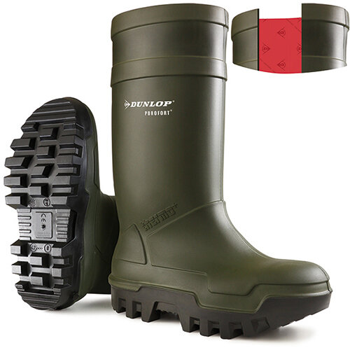 Dunlop Purofort Thermo Plus Safety Wellington Boot Size 13 Green Ref C66293313
