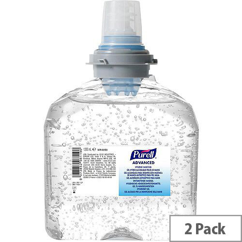 Purell 1200ml Advanced Hygienic Hand Sanitiser Rub Gel Refills for TFX Dispenser Pack 2