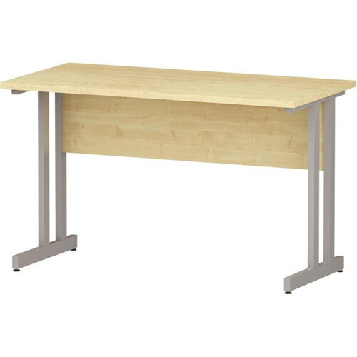 Rectangular Double Cantilever Silver Leg Slimline Office Desk Maple W1200xD600mm
