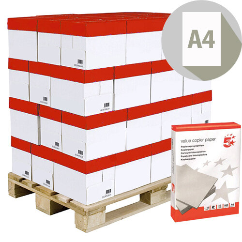 A4 80gsm White Value Copier Paper 5 Star Pallet of 240 Reams