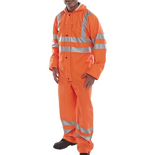 B-Seen Super B-Dri Breathable Hi-Vis Work Coverall Size 2XL Orange Ref PUC471ORXXL