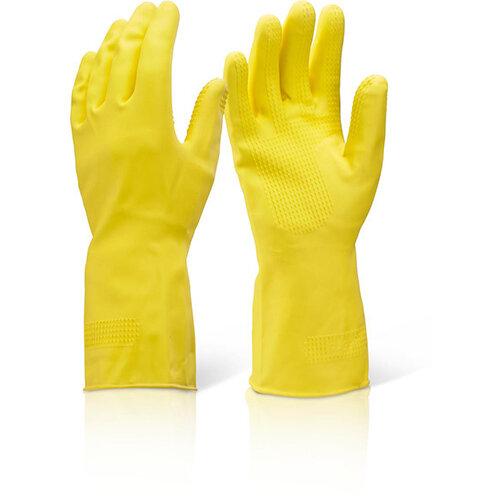 Click2000 Household Heavy Weight Rubber Gloves Yellow Size M Pack of 10 Pairs Ref HHHWM